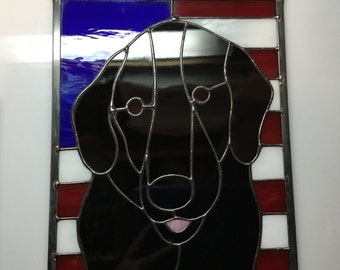 Labrador Retriever with American Flag Stained Glass Panel