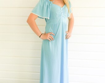 Robins Egg Blue Vintage Seventies Maxi Dress