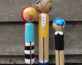 Wood folk art giant round clothespin dolls..little red riding hood and friends