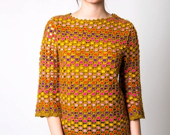 The Vintage Colorblocked Polka Dot Knit Sweater