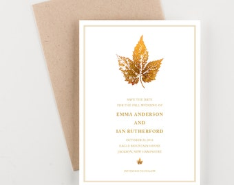 Painted Gold Leaf Save The Date, Wedding Announcement, Gold and White