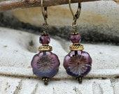 Bohemian Czech Flower Earrings, Purple, Mauve, Violet, Amethyst, Antique Brass, Boho, Gift for Her, Christmas Gift for Women
