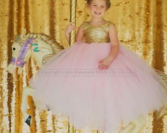 NEW! The Juliet Dress in Gold and Pink - Flower Girl Dress