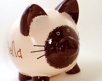 Siamese Kitty Piggy Bank - Personalized Piggy Bank - Feline Kitten Bank - Seal Point Siamese Cat Bank - with hole or NO hole in bottom