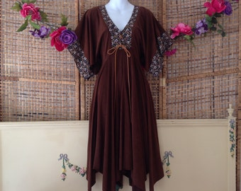 Vintage Faux Suede Handkerchief Hem Sleeves Boho Hippie Midi Dress Sz 7