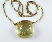 Lucite Jelly Belly Fish Bowl Necklace, Castlecliff, Vintage 1960, Book Piece