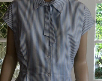 1940's PEPLUM Vintage Reproduction BLOUSE . Blue and White stripe