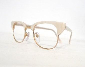 Big 80s Pearly CLubmaster Vintage NOS Clubman EyeGlass Frame New Wave Designer Sunglasses Clubmaster Tart Optical Shady Never Used White