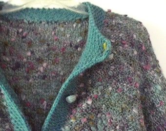 Large Handmade Flecked Cardigan Sweater VTG Teal Green Grey Rose Vintage Buttons Chunky Sweater Wool ButtonDown Greyish Blue Green Violet