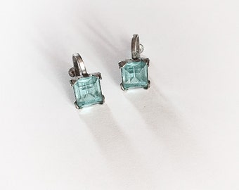 Vintage Ice Blue Emerald Cut Rhinestone Earrings Screw Back