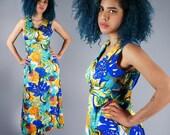 60s Psychedelic Print Dress Vintage Wearable Art Maxi Dress Hippie Psych Freak Out Dress Size Medium Large Bust 38 39 40
