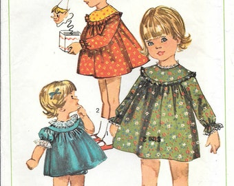 Simplicity 6713 1960s Toddlers Gathered Yoke Dress and Panties Vintage Sewing Pattern Size 3 Puff Sleeves