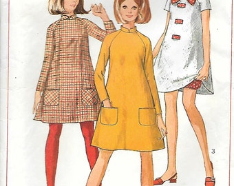 Simplicity 7284-1960s Mod Mini Tent Dress with Bloomers Vintage Sewing Pattern Miss 14 Bust 34 Stand Up Collar