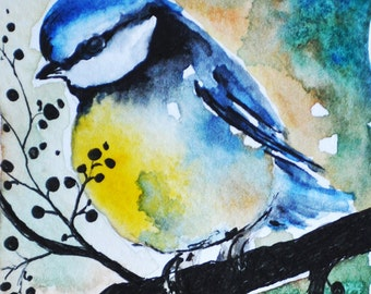 Original Watercolor and Ink Painting Bird ACEO