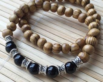 Set of Two Gemstone Stacking Bracelets for Men or Women Natural Wood and Black Onyx Unisex Wrist Mala
