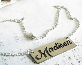 Cursive name necklace in sterling silver. Personalized word script pendant. Engraving option on back.  Nameplate jewelry mothers gift