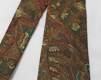 Vintage CESARANI Autumn Leaves Silk Necktie
