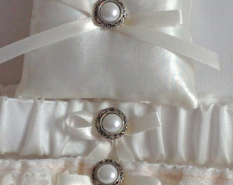 """Silver and Ivory Ring Bearer Pillow, small simple bridal pillow, silver button ivory ribbon -- approx. 3"""" square"""