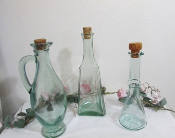 Apothecary Jars with Corks Stoppers Set of 3 Clear Aqua