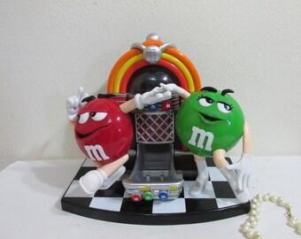 Candy Dispenser M&M Jutebox Rock 'N Roll Vintage 1980s