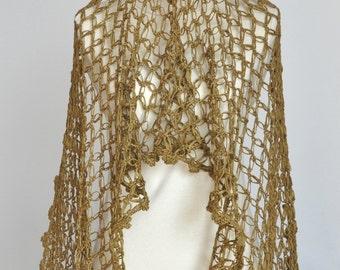 Gold Solomon - Dark Gold - Crochet Ribbon Yarn Shawl/Wrap