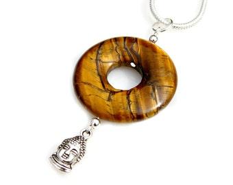 Buddha Charm Necklace Tigers Eye Gemstone Pendant Zen Asian Flare Gold Gemstone Indian Buddhism Ancient Belief Spiritual Faith Mei Faith