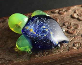 Silver Galaxy Turtle Pendant w/ Green Slyme