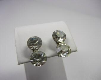 Rhinestone Drop Earrings / screw clip earrings / NEMO vintage earrings / clear stones / paste set / Wedding / 1-cent shipping