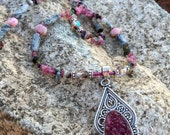 RUBY SLIPPERS Necklace (Drusy, Tourmaline, Pink Opal, Tourmalinated Quartz, Sterling Silver, Czech Crystal)