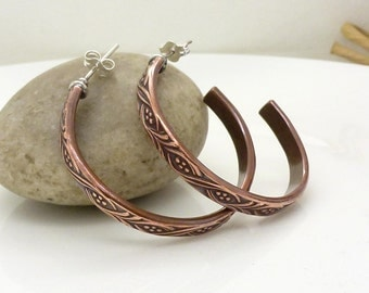 Large copper hoop earrings with sterling silver, Textured patterned mixed metal oxidized copper earrings, solid copper jewelry