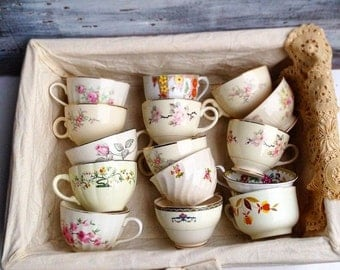 Vintage Teacups 12 Mix & Match Tea Cups Bridal Shower Favors Vintage   Wedding Favors Wedding Gift Tea Party Baby Shower Birthday Party