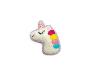 Unicorn Brooch - Plush Unicorn -  Unicorn Jewelry - I Believe in Unicorns - Magical Unicorn - Unicorn Pin - Kawaii Pins