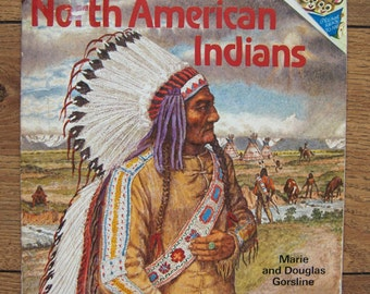 vintage 70s picture book NORTH AMERICAN INDIANS children instructional