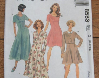 1996 McCalls pattern 8583 misses dress and jacket sz 20-22-24 uncut