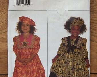 1994 Butterick pattern 3771 Girls Dress, Pantaloons, Headwrap, Beret sz 5-6-6X  uncut