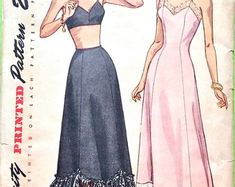 1940s lingerie pattern slip and half slip by Simplicity 2693 vintage sewing pattern  Bust 32 or Bust  36 inches