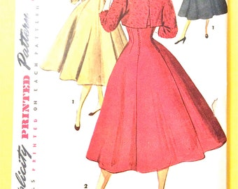 Simplicity 4759  Misses One-Piece Jumper Dress and Bolero Jacket Princess Seam Dress Fitted Bodice Full Skirt Vintage Sewing Pattern Bust 34