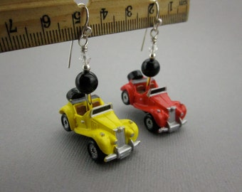 1950s MG TF Micro Machines 1980s Toy Car Earrings with Sterling Silver