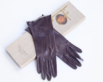 Mid Century Brown Leather Gloves - XS
