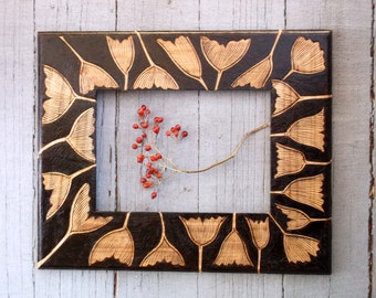 ginko woodburned frame-9 by 11 inches-artist decorated-ooak handmade leaf frame-can hold your favorite 5 by 7 inch photograph
