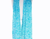 Long Chiffon Scarf Womens Clothing Spring Fashion Accessory Turquoise Blue and White Paisley Scarf - Super Soft Scarf - Batik Scarf - Gift