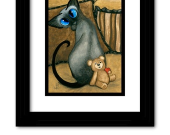 Siamese Cat Teddy Bear Valentine Heart Art - Original Painting by AmyLyn Bihrle ck395
