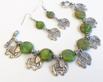 Christmas in July Sale Elephant Charm Bracelet, Green Sea Sediment Jasper, Earthy  Bracelet Earring Set,