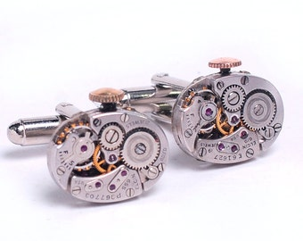 1940's Elgin Watch Steampunk Cuff Links
