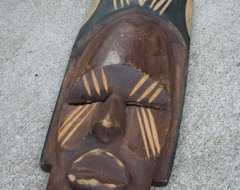 African Hand Carved Face Wall Decor / Art