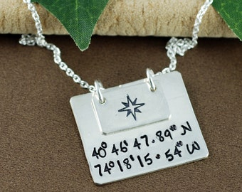 Personalized Coordinate Necklace, Longitude Latitude Necklace, Compass Jewelry, Custom Location Necklace, Coordinate compass Necklace