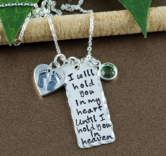 Hand Stamped Necklace | I will hold you in my heart until I can hold you in heaven  | Memorial Necklace | In Memory Of | Bar Necklace