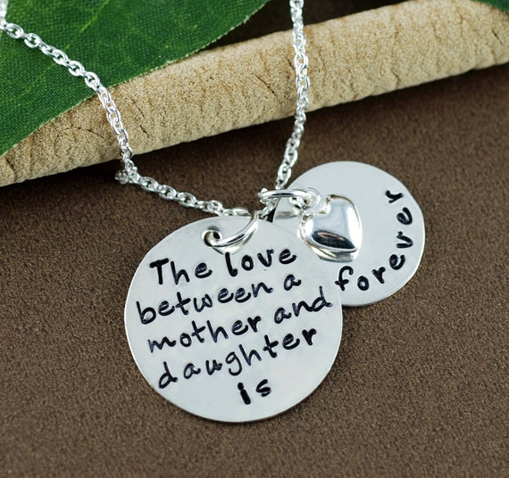 Personalized Jewelry |The Love Between a Mother and Daughter is Forever Necklace | Hand Stamped Mommy Necklace |  Mother Daugther Necklace