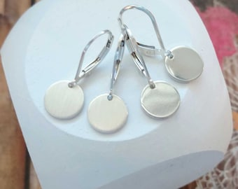 Disk Earrings Silver Sterling Silver Dangle Earrings Small Circle Round Coin Drop,Earrings Leverback Lever back Lightweight Simple Everyday