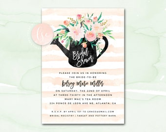Bridal Shower Invitation, Watercolor Floral Bridal Shower Invitation, Printable Bridal Shower Invite, Blush and Mint Bridal Shower Printable